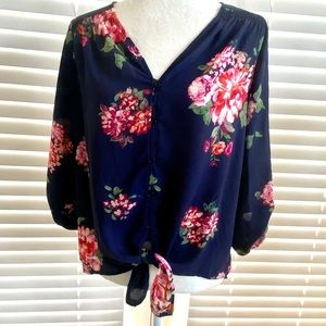 Skies Are Blue Medium Navy Floral Tie Front Blouse